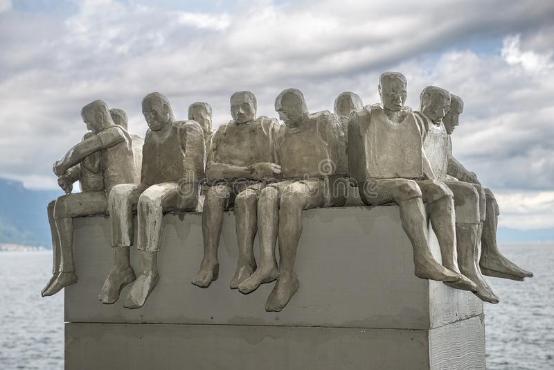 Deja todos ir a Marte, escultura de Stephen Hawking foto de archivo libre de regalías