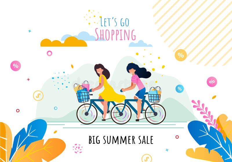 Deja van a hacer compras en bandera de la motivación de la venta del verano libre illustration