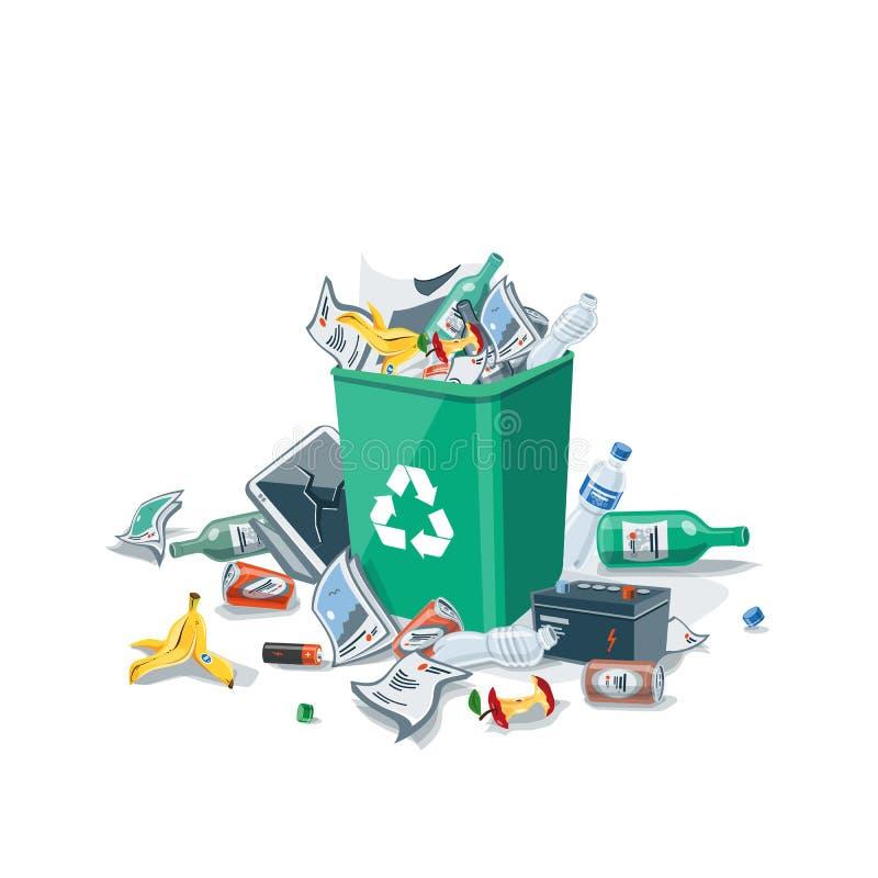 Dejando en desorden la basura alrededor del cubo de la basura aislado en el fondo blanco libre illustration