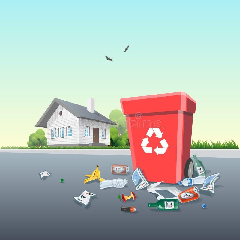 Dejar en desorden la basura alrededor del cubo de la basura fuera de una casa libre illustration
