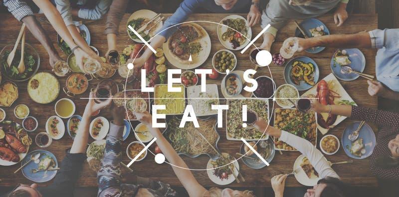 Deje el ` s comer concepto delicioso de la celebración del partido de la consumición de la comida imagen de archivo libre de regalías