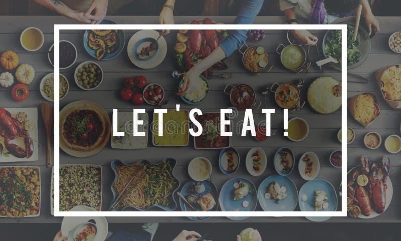 Deje el ` s comer concepto delicioso de la celebración del partido de la consumición de la comida fotografía de archivo