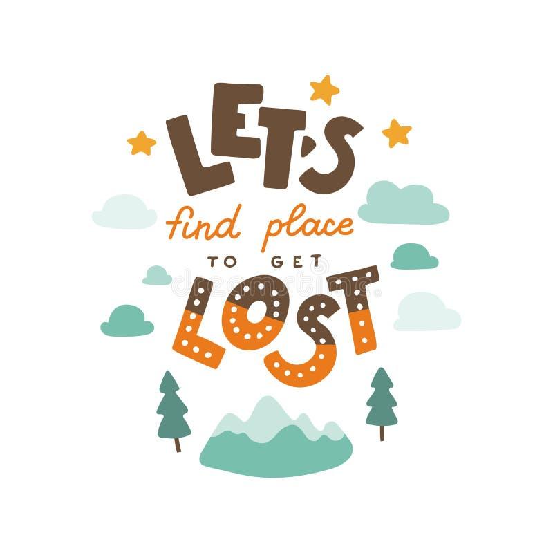 Deje el ` s encontrar un lugar para conseguir cita dibujada mano perdida de las letras stock de ilustración
