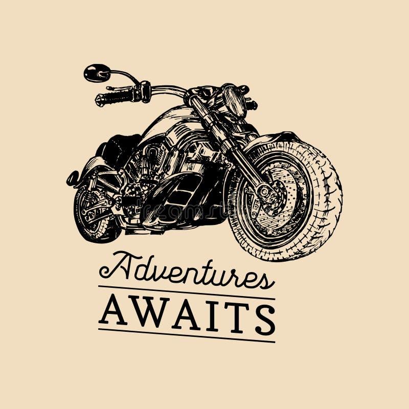 Deje las aventuras comenzar el cartel inspirado Vector la motocicleta dibujada mano para la muestra de la bujía métrica, etiqueta stock de ilustración
