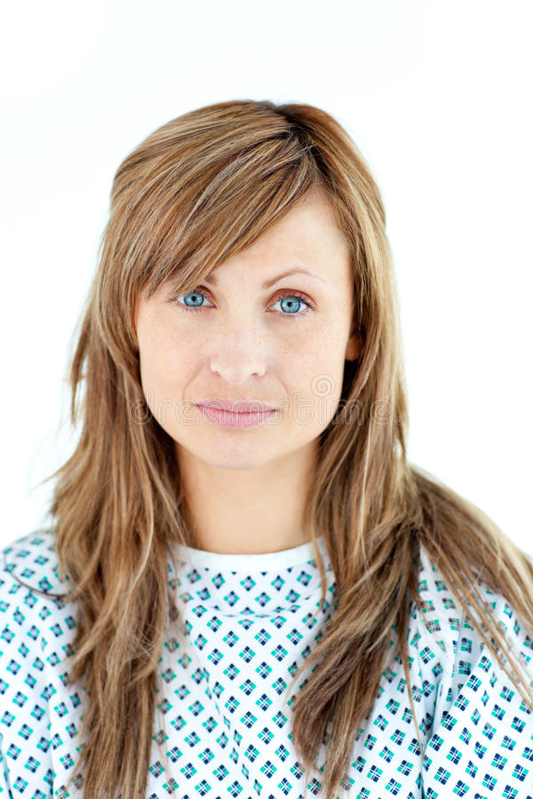 Dejected Female Patient Looking At The Camera Stock Image