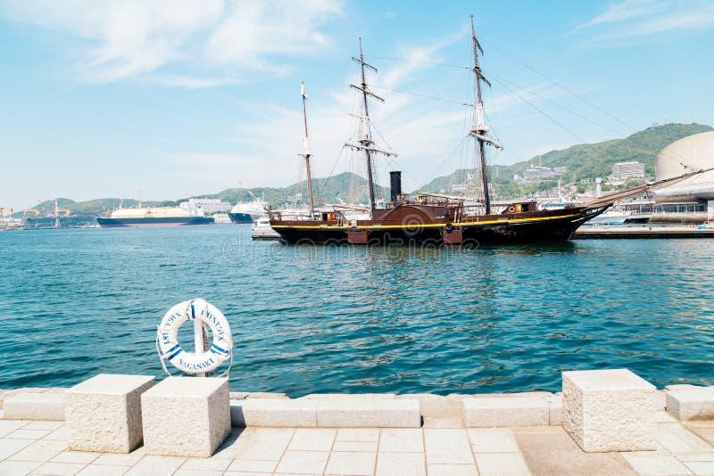 Dejima-Kai - Meerblick von Nagasaki-Hafen am Sommertag in Japan lizenzfreie stockbilder