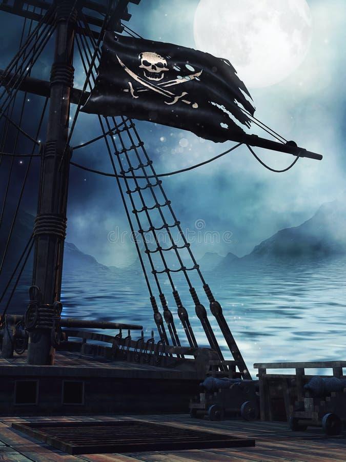 Dek van een piraatschip vector illustratie