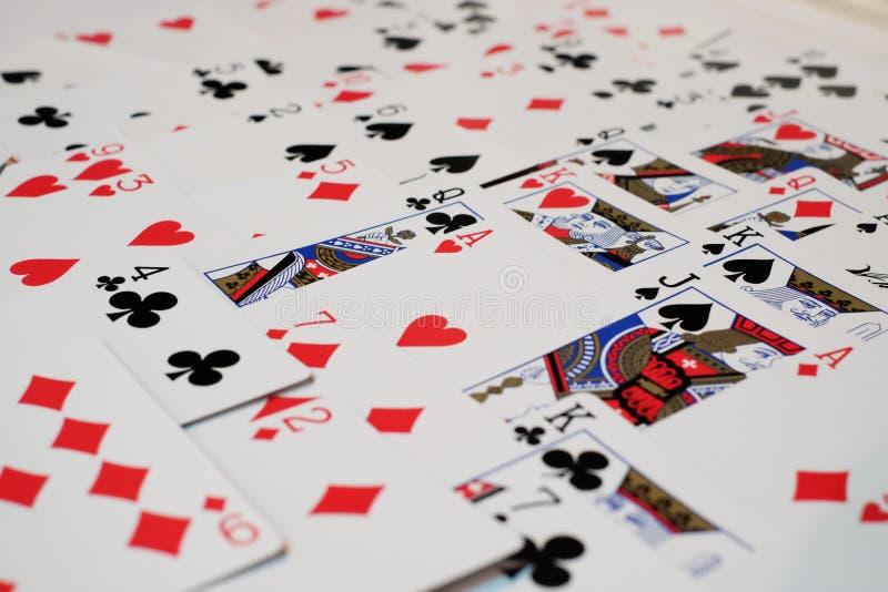 Dek van kaarten en aas van hart stock foto's