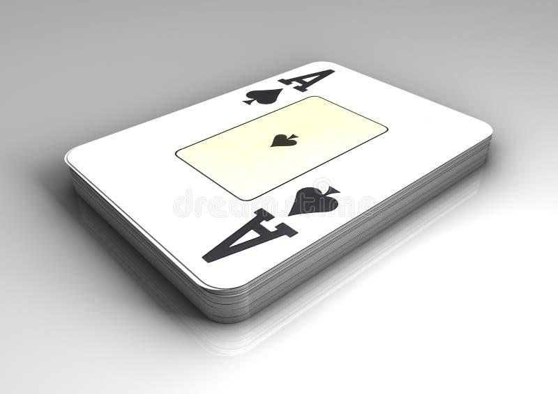 Dek van pookkaarten met hoogste kaart als aas van spades op witte lijst met bezinning royalty-vrije illustratie
