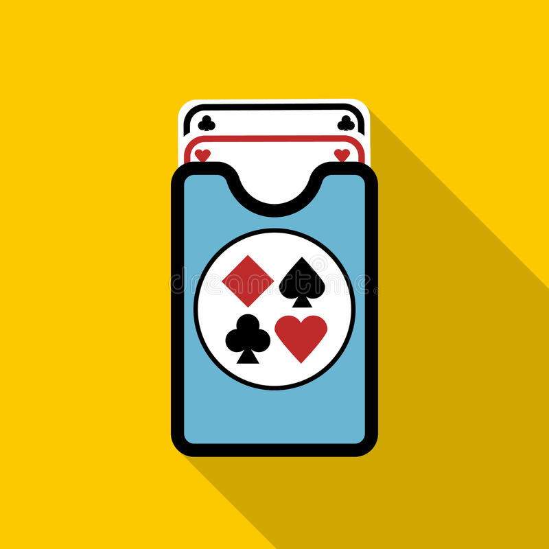 Dek van speelkaartenpictogram, vlakke stijl stock illustratie