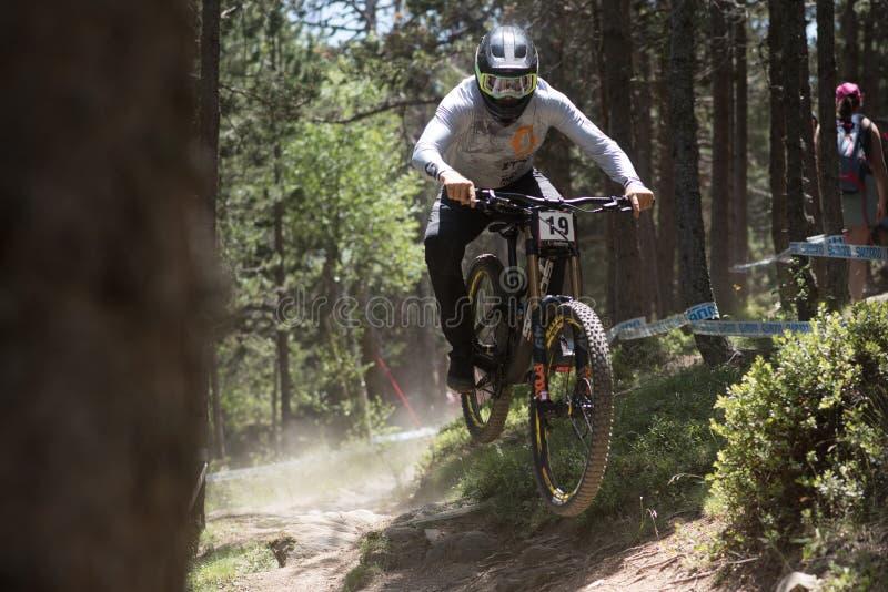 DEKAN LUCAS AUSTRALIEN i den MERCEDES-BENZ UCI MTB VÄRLDSCUPEN 2019 - DHI Vallnord, Andorra på Juli 2019 royaltyfri bild