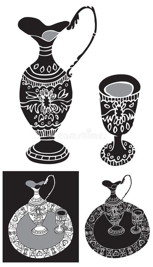 Dekantator i strzału szklany ornament ilustracja wektor
