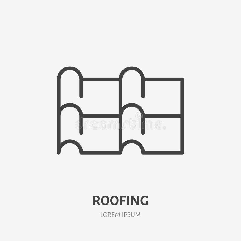 Dekarstwa mieszkania linii ikona Ilustracja metalu dachówkowego dachu materiał Domowy budowa znak Cienki liniowy logo dla domu ilustracji