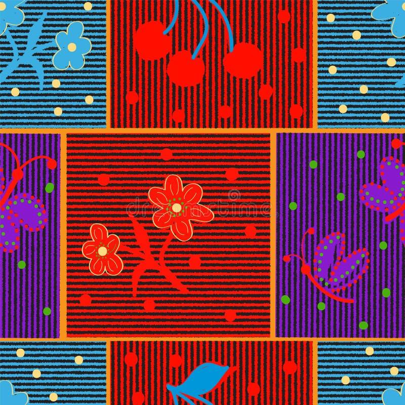 Dekbed geruit gestreept kleurrijk naadloos patroon met applique van gestileerde bloem, vlinder, bes stock illustratie