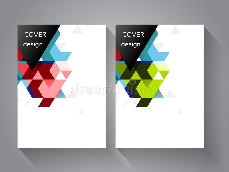 Dekking en brochuremalplaatje met de achtergrond van de kleurendriehoek Meetkunde bedrijfsconcept voor lay-out, brochure, vlieger vector illustratie