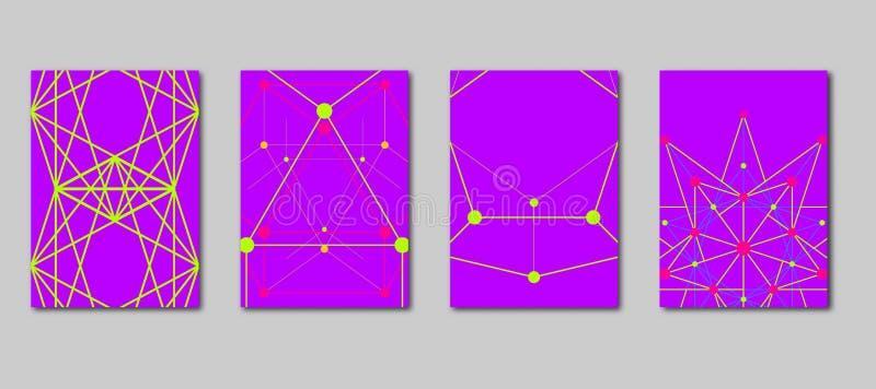 Dekking met volumetrische geometrische vormen met randen en toppen Geometrisch wetenschappelijk concept royalty-vrije illustratie