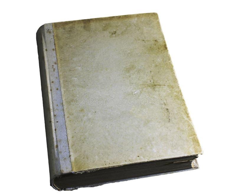 Dekking van oud, geel, bevlekt boek dat op witte achtergrond wordt geïsoleerd royalty-vrije stock afbeelding