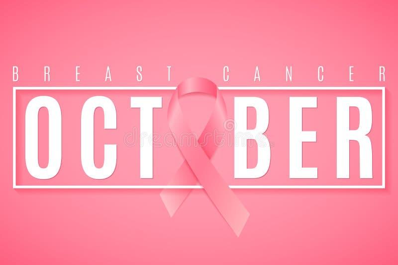 Dekking voor Borstkanker Voorlichtingsmaand Roze lint Tekst in kader Webbanner voor uw ontwerp Het vechten kanker Vectorillustra stock illustratie
