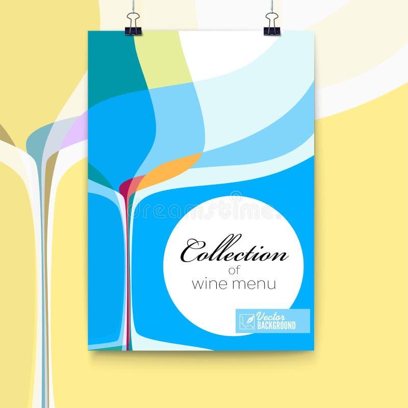 Dekking voor menu, abstracte samenstelling met wijnglas, 3D illustratie Het ontwerpmalplaatje van de wijnlijst voor bar of restau vector illustratie