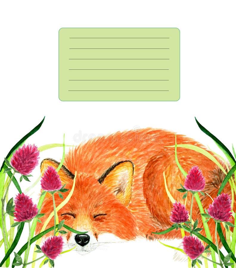Dekking voor notitieboekje met slaapvos De illustratie van de waterverf stock fotografie