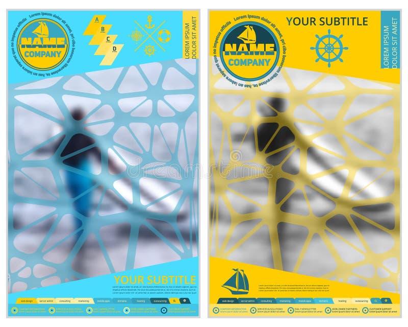 Dekking voor toerisme of reisbedrijf Vage achtergrond Collectief ontwerp reclame en informatie stock illustratie