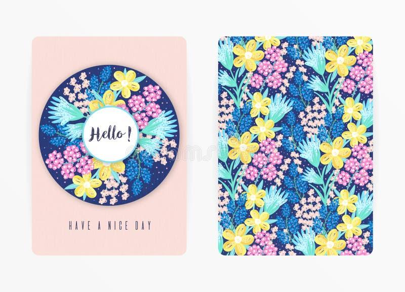 Dekkingsontwerp met bloemenpatroon Hand getrokken creatieve bloemen Kleurrijke artistieke achtergrond met bloesem vector illustratie