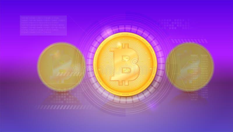 Dekkingsontwerp met digitaal concept Landende pagina van website Bitcoin met UI-technologieelementen, vectorinterface met royalty-vrije illustratie
