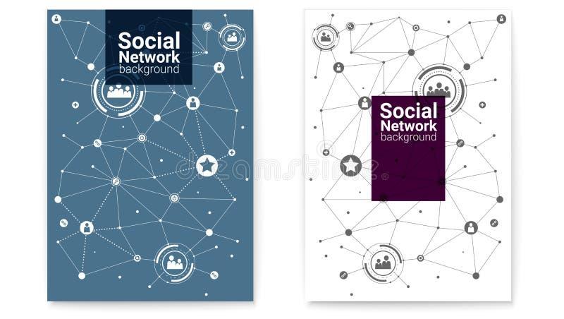 Dekkingsontwerp, vlakke stijl Zaken of sociale media netwerken Interactie in Internet-netwerk Reeks affiches royalty-vrije illustratie