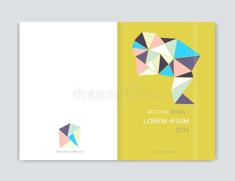 Dekkingsontwerp voor de vlieger van het Brochurepamflet Abstracte geometrisch Abstract modern cijfer van driehoek A4 grootte royalty-vrije illustratie