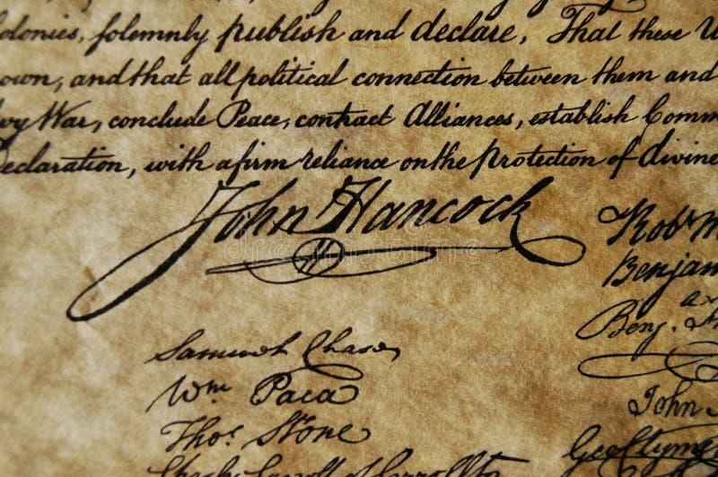 deklarację niepodległości fotografia stock