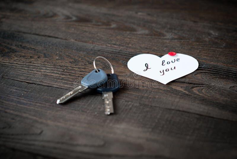 Deklaracja miłość i klucze obraz stock