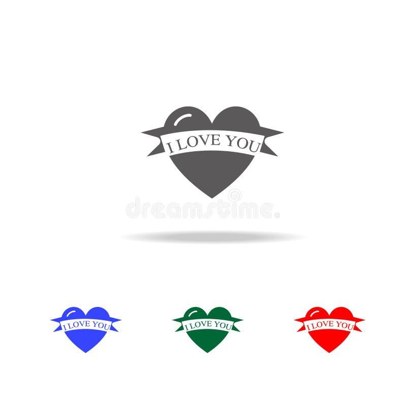 deklaracja miłość w kierowej ikonie Elementy walentynka dzień w wielo- barwionych ikonach Premii ilości graficznego projekta ikon ilustracja wektor