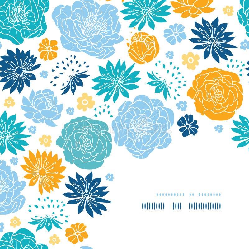 Dekor för hörn för blått- och gulingblommakonturer vektor illustrationer
