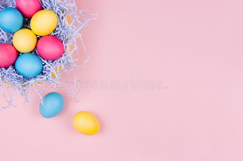Dekor för påskvårhem - hemlagade målade mångfärgade ägg i pastellblått bygga bo på ljus - rosa bakgrund fotografering för bildbyråer