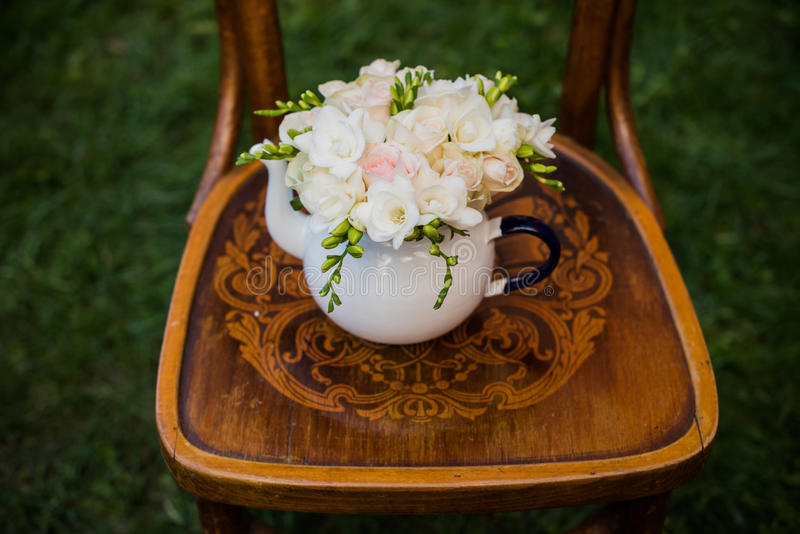 Dekor för sommarbröllopparti fotografering för bildbyråer