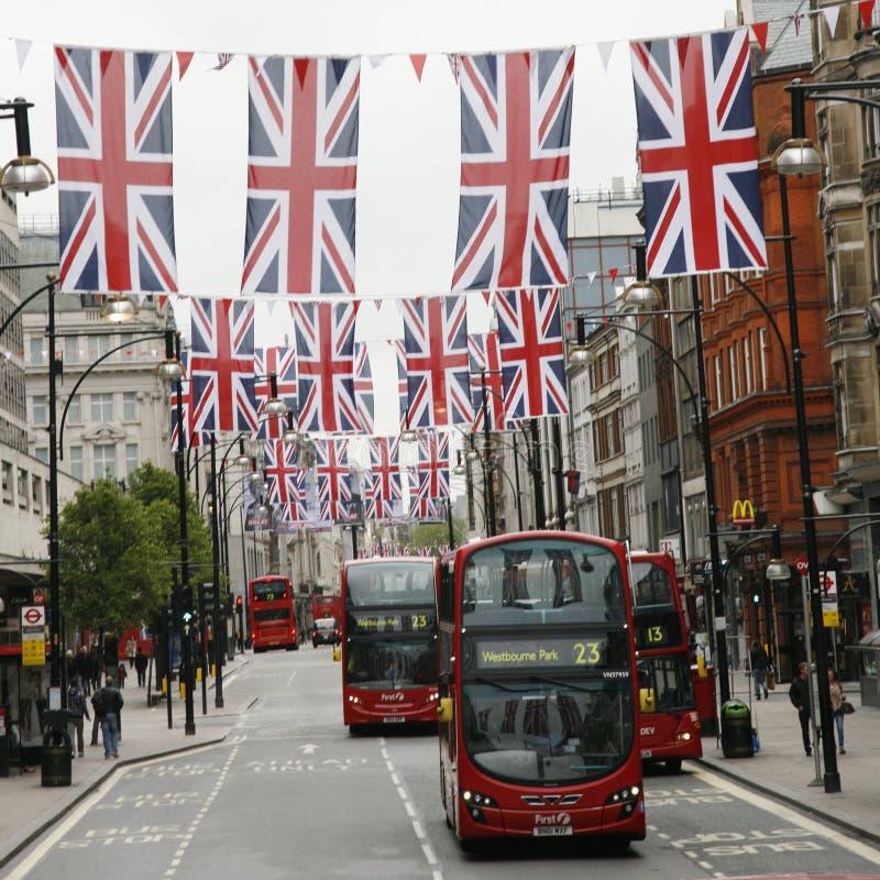 dekoraci diamentowego jubileuszu Oxford królowej s ulica zdjęcia stock