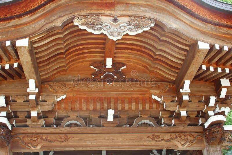 Dekoraci drewniana dachowa Buddyjska świątynia, Hida Furukawa, Japonia zdjęcia stock