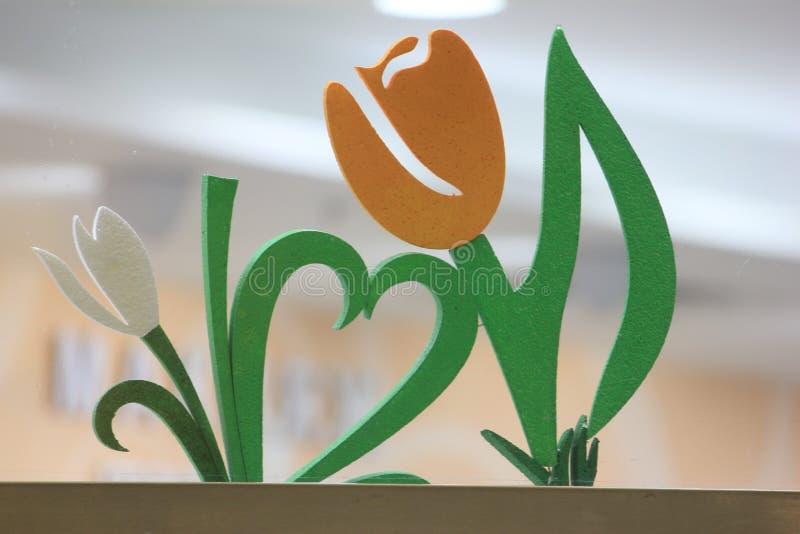 Dekoraci dwa tulipany fotografia stock