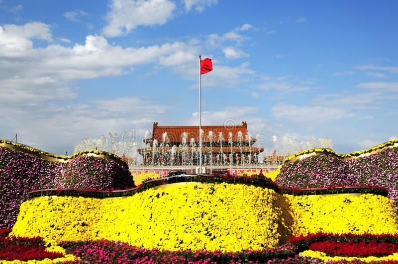 dekoraci kwiatu wakacje kwadrat Tiananmen obrazy stock