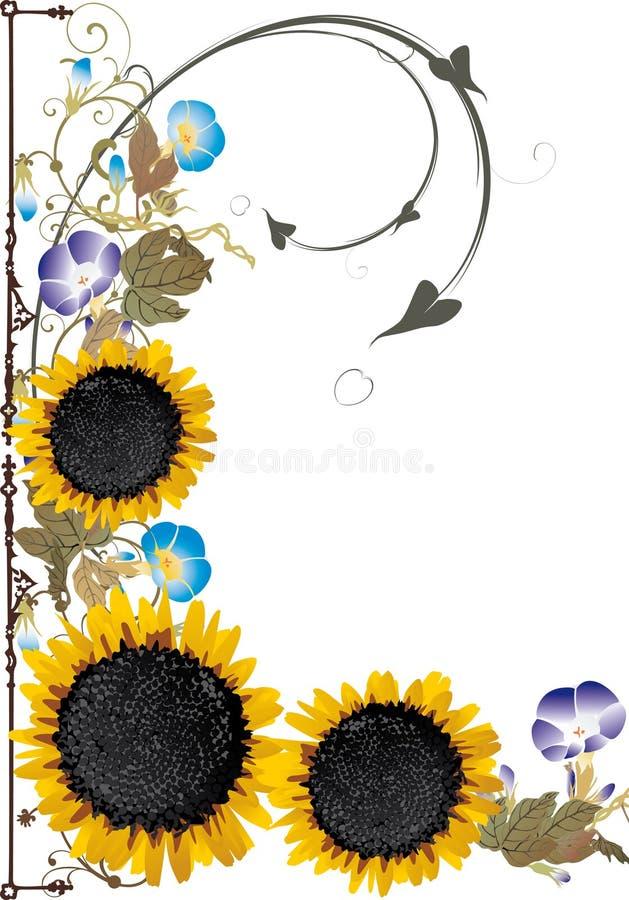dekoraci słoneczników trzy kolor żółty ilustracji