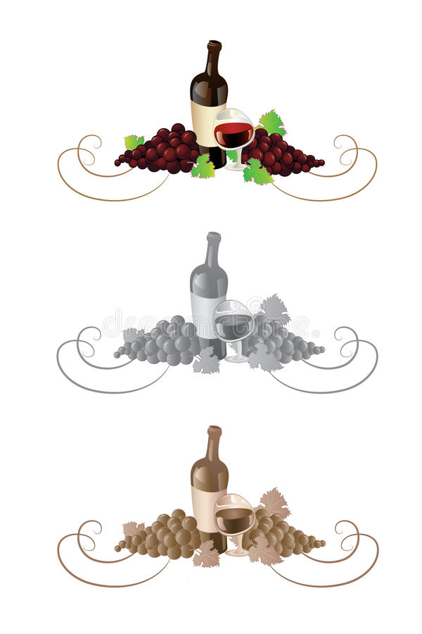 dekoraci winogron wino ilustracja wektor