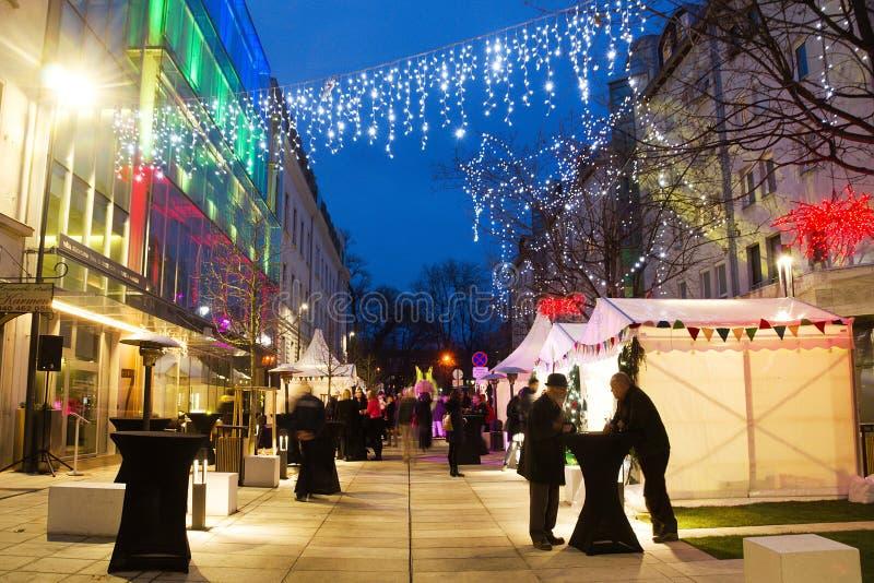 Dekoracja Świąt Bożego Narodzenia W Mariborze, Słowenia fotografia stock
