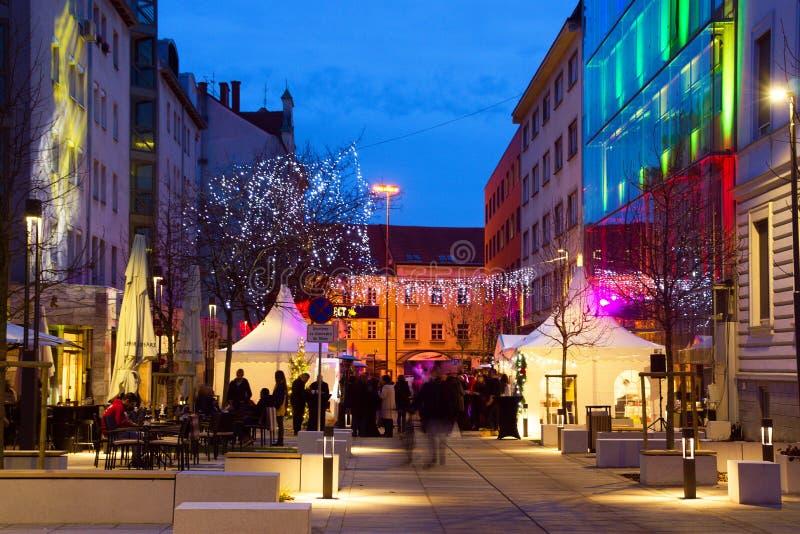 Dekoracja Świąt Bożego Narodzenia W Mariborze, Słowenia obrazy royalty free