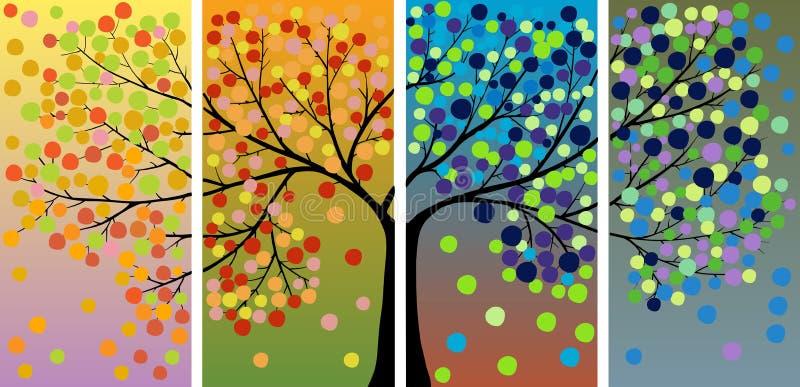 Dekoracja Cztery Sezonów Drzewo Obrazy Royalty Free