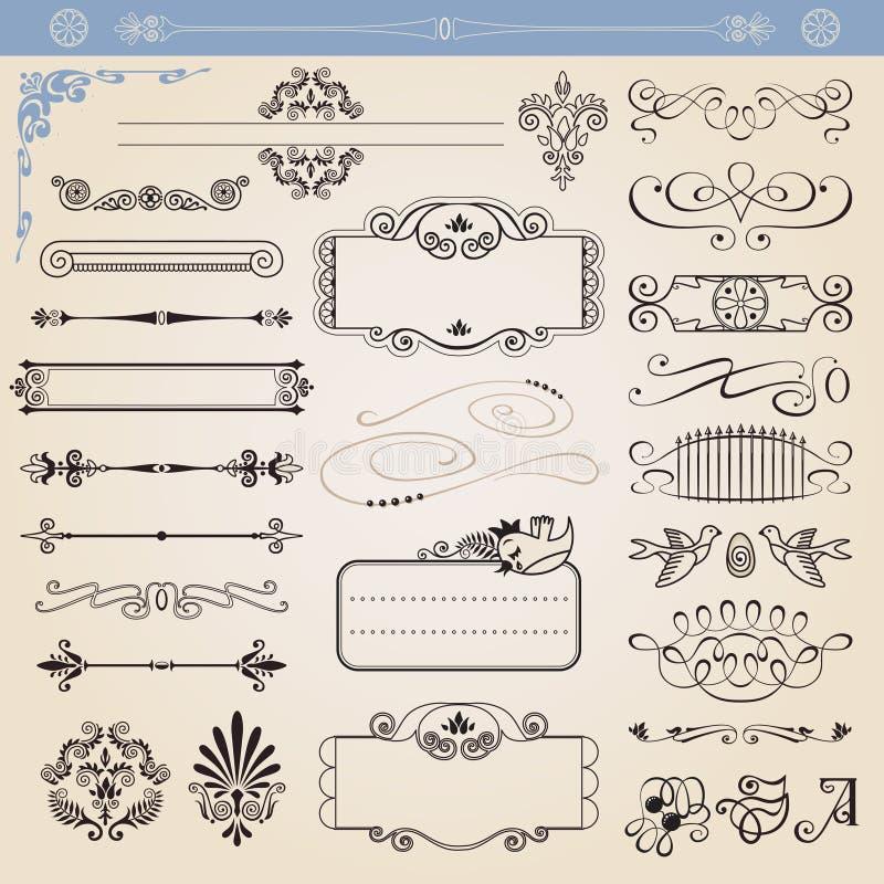 dekoracja kaligraficzni elementy ustawiają wektor ilustracja wektor