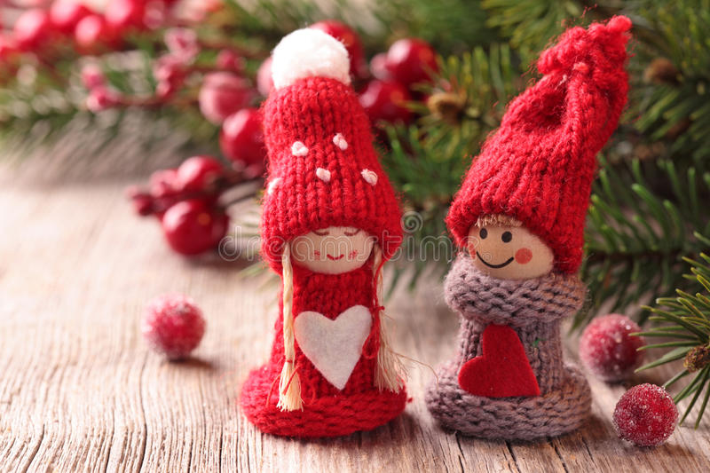 Download Dekoracja mały Santa dwa obraz stock. Obraz złożonej z drzewo - 22032359