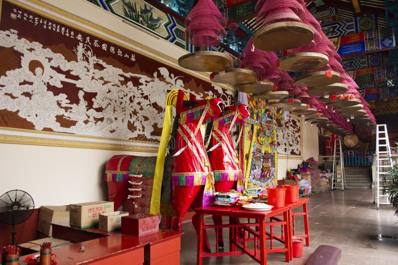 Dekoracja meble i ofiarne ofiary dla chi?czyk?w modlimy si? boga i pomnika antenat w Tiantan ?wi?tyni przy Chiny obraz royalty free