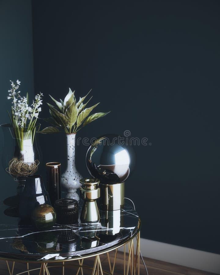Dekoracja na marmurowym stole, 3d rendering fotografia royalty free