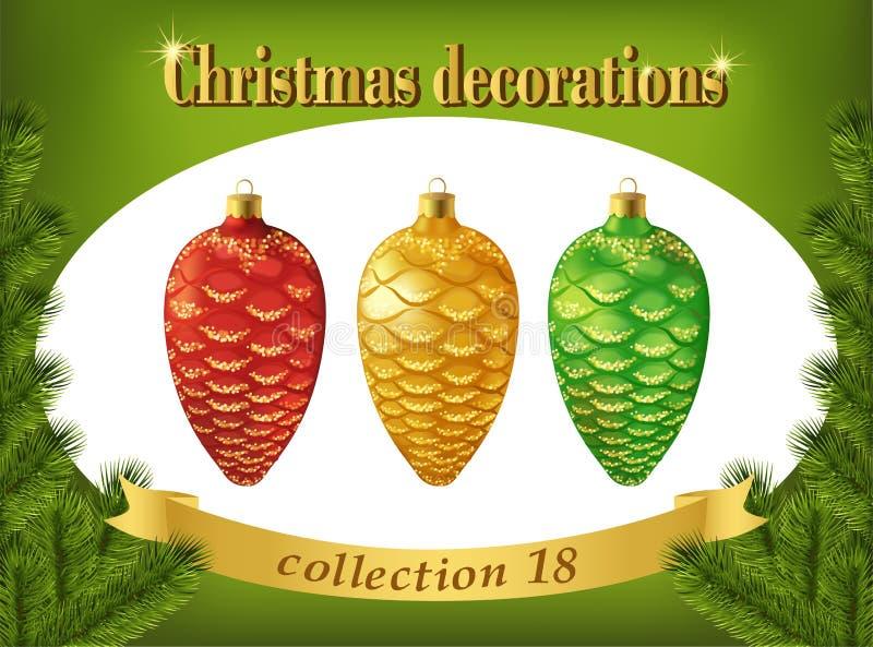 dekoracje świąteczne ekologicznego drewna Kolekcja czerwień, złoto i zieleń rożki, ilustracja wektor