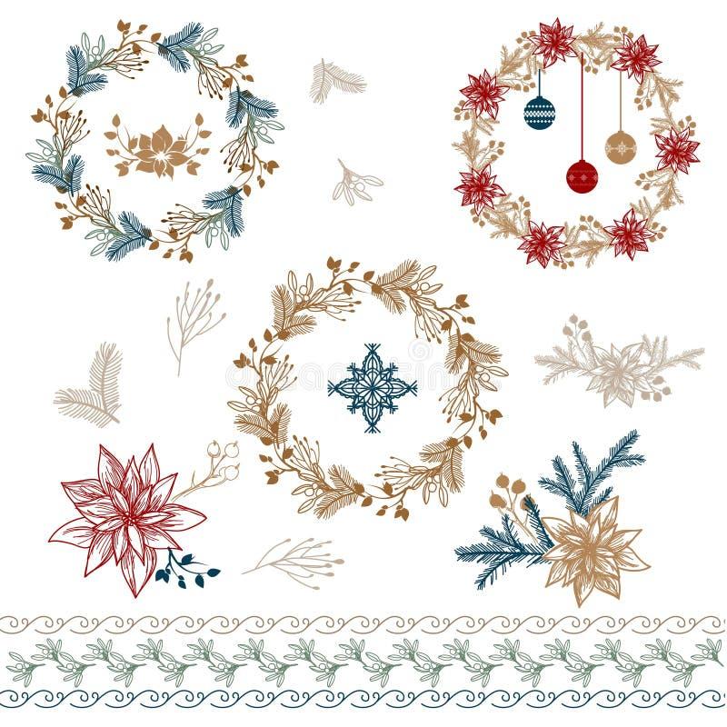 dekoracje świąteczne ekologicznego drewna Poinsecja & jemioła obraz stock
